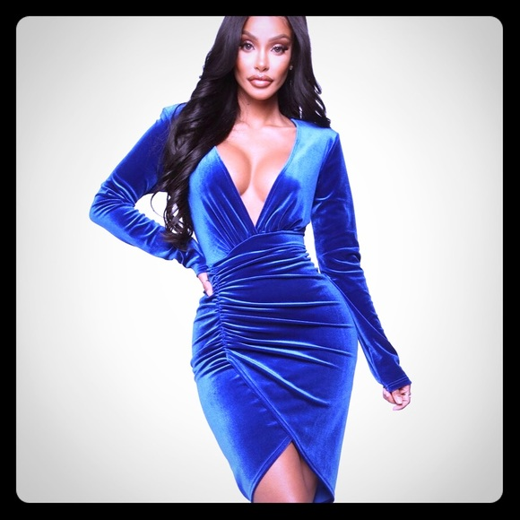 Fashion Nova Dresses & Skirts - Fashion Nova blue velvet dress